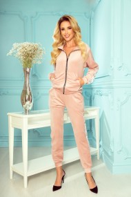 326-1 Velor tracksuit with stripes and a decorative zipper - powder pink