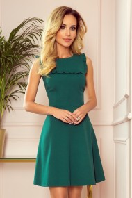 334-1 BLANKA - Flared dress with a frill - green color