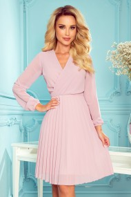 313-4 ISABELLE Pleated dress with neckline and long sleeve - powder pink