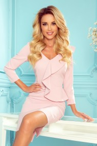 327-1 Elegant dress with a frill and neckline - pastel pink