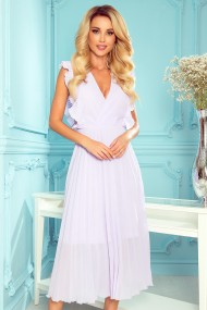 315-4 EMILY Pleated dress with frills and neckline - heather color