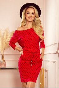 13-128 Sports dress with binding and pockets - red with black polka dots