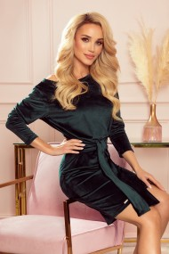 209-9 Dress with a wide tied belt - velor - dark green