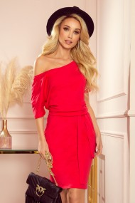 249-3 CASSIE - dress with short sleeves - red
