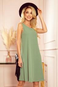 296-6 VICTORIA Trapezoidal dress - olive color