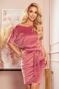 249-4 CASSIE - velvet dress with short sleeves - dirty pink