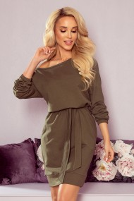 344-1 Oversize dress with a welt and a belt - khaki color