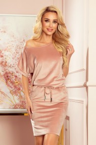 139-9 Sports dress with short sleeves - velor - dirty pink