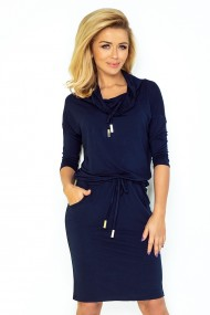 Sports dress with binding - navy blue 44-6