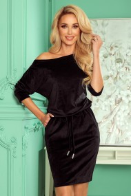 13-129 Sports dress with binding and pockets - velor - black