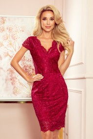 316-5 Lace dress with neckline - Burgundy color
