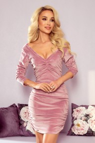 345-1 NAOMI draped velor dress with a neckline - dirty pink