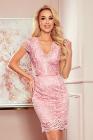 316-6 Lace dress with neckline - dirty pink