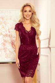 316-7 Lace dress with neckline - plum color