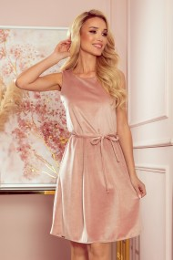 296-7 VICTORIA Trapezoidal dress - velor - dirty pink