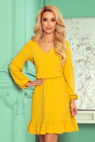 295-6 BAKARI flimsy dress with a neckline - honey