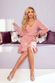 295-5 BAKARI flimsy dress with a neckline - dirty pink