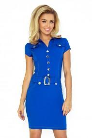 Zila kleita ar pogām un jostiņu