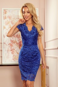 316-4 Lace dress with neckline - classic blue