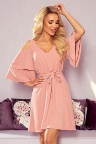 292-5 MARINA flimsy dress with a neckline - powder pink