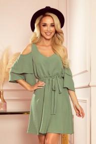 292-6 MARINA flimsy dress with a neckline - olive colour