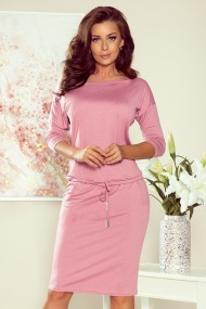 13-132 Sports dress with binding and pockets - pastel pink