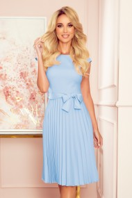 311-8 LILA Pleated dress with short sleeves - bright blue