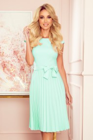 311-9 LILA Pleated dress with short sleeves - Mint color