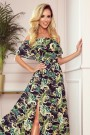 194-4 Long dress with frill - green leaves and gold chains