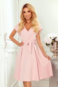 348-1 SCARLETT - flared dress with a neckline - powder pink