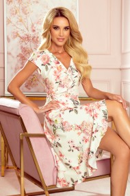 349-1 Wrap dress with frills - peach flowers