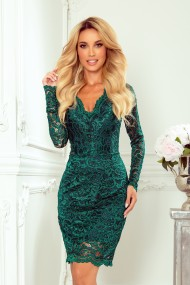 170-9 Lace dress with neckline - green