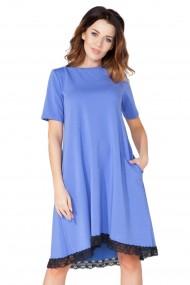 Zila kleita ar mežģīņu maliņu