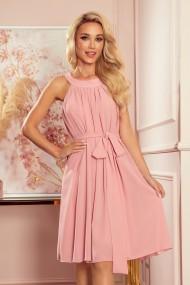 350-2 ALIZEE - chiffon dress with a binding - powder pink