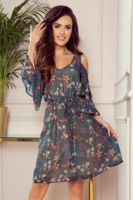 292-2 MARINA flimsy dress with a neckline - green with flowers