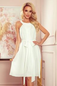 350-1 ALIZEE - chiffon dress with a binding - ECRU