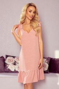 306-3 ROSITA Dress with bows on the shoulders and frill - powder pink