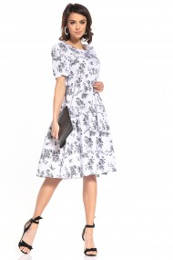 Balta-pelēka, pūkaina kleita