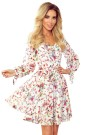 305-1 ZOE flimsy dress with a neckline - colorful flowers on a light background