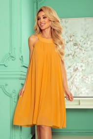 350-3 ALIZEE - chiffon dress with a binding - Honey color