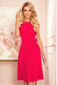 311-5 LILA Pleated dress with short sleeves - raspberry color