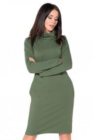Zaļa kleita ar augstāku apkaklīti