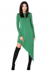 Zaļa, asimetriska garuma kleita