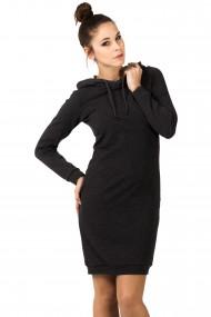 Tumši pelēka kleita ar kapuci