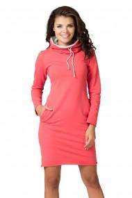 Koraļļu krāsas kleita ar kapuci